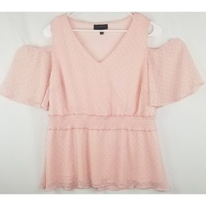 Lane Bryant Pink Cold Shoulder Flutter Top Size 20